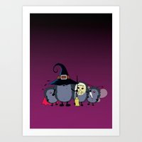 animal crew Art Prints featuring Halloween party crew by mangulica