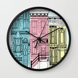 San Francisco Victorian Houses Wall Clock
