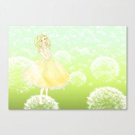 Green Dandelion Girl  Canvas Print