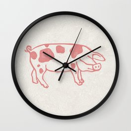 Raspberry Pink Spotted Pig Lino Print Wall Clock