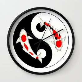 Koi Kohaku and Taisho Sanke Yin Yang Wall Clock