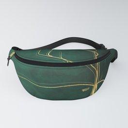 Kintsugi Emerald #green #gold #kintsugi #japan #marble #watercolor #abstract Fanny Pack