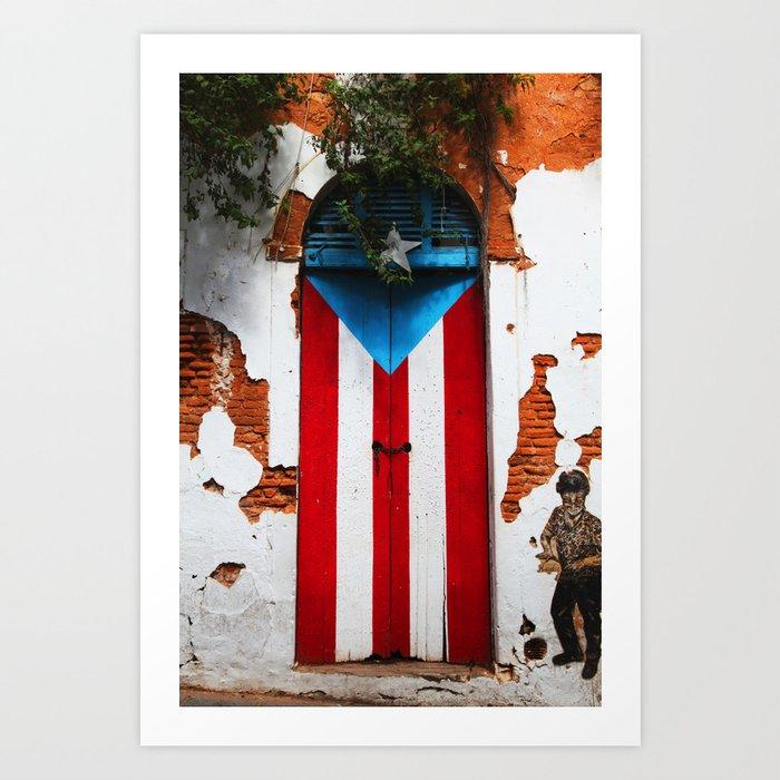 PUERTO RICO FLAG DOOR Kunstdrucke
