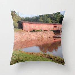 Early Morning at Watson Mill Bridge Throw Pillow