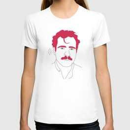 Blue-tooth pink mustache guy T-shirt