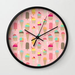 Ice Cream summer fresh food vacation heatwave city life pattern print geometric triangle design Wall Clock