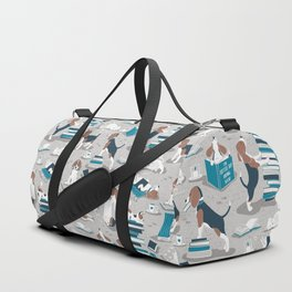 Life is better with books a hot drink and a friend // grey background brown white and blue beagles and cats and turquoise cozy details Duffle Bag