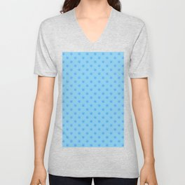 Brandeis Blue on Baby Blue Snowflakes Unisex V-Neck