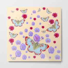 WHITE-RED BUTTERFLIES AMONG FLOATING PINK ROSES Metal Print