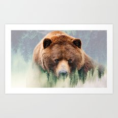 Grizzly Wood Art Print