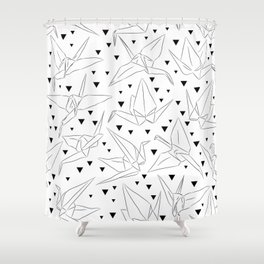 Japanese Origami white paper cranes sketch, symbol of happiness, luck and longevity Shower Curtain