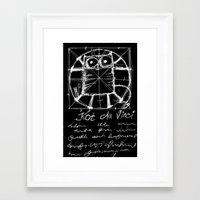 da vinci Framed Art Prints featuring Kot da Vinci (black) by Katja Main