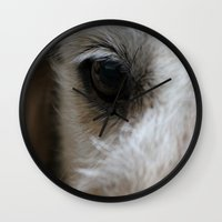 golden retriever Wall Clocks featuring Golden retriever eye 2 by Isabelle Savard-Filteau