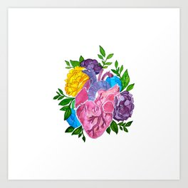 Heart,flowers and colors Art Print