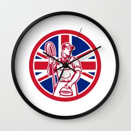 British Professional Cleaner Union Jack Flag Icon Wall Clock