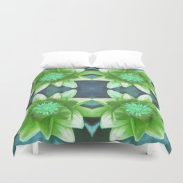 Teal Green Bromeliad Pattern Duvet Cover