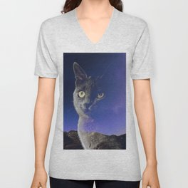 Cat and night sky Unisex V-Neck