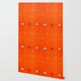Traditional Anthropologie Moroccan orange Artwork. Art Print Wallpaper