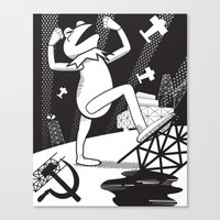 kermit Canvas Prints featuring Communist Kermit by Jada McGill