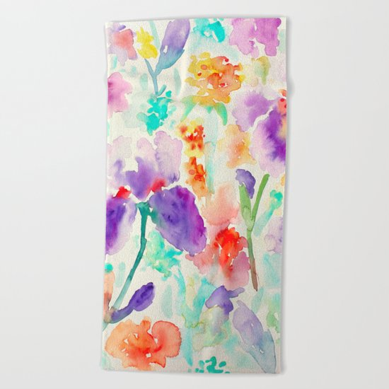 Abstract Flowers 03 Beach Towel