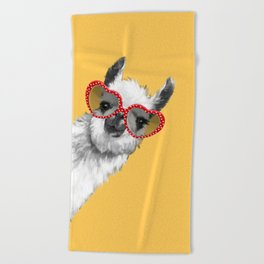 Fashion Hipster Llama with Glasses Beach Towel