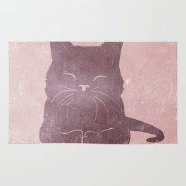 Happy purple cat illustration on pink for girls Rug