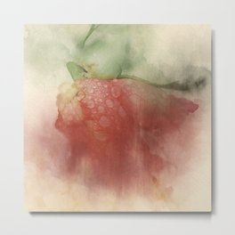 Trampled Rose Red Green Photo Manipulated Flower with Dew Drops Metal Print