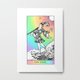 0. The Fool- Pastel Rainbow Tarot Metal Print