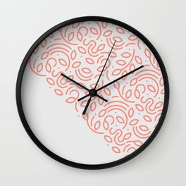 Coral Leaves Wall Clock
