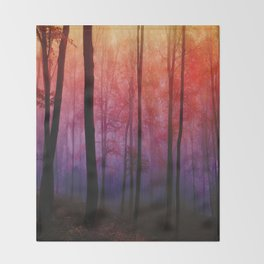 Whispering Woods, Colorful Landscape Art Throw Blanket