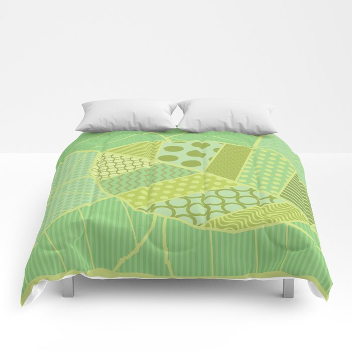 The Unique One (Green Patterned Leaf Patchwork) Comforters
