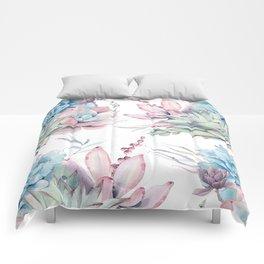 Pretty Pastel Succulents Garden 1 Comforters