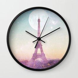 I LOVE PINK PARIS EIFFEL TOWER - Full Moon Universe Wall Clock
