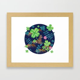 Pattern- Rabbit with clovers and leaves Framed Art Print
