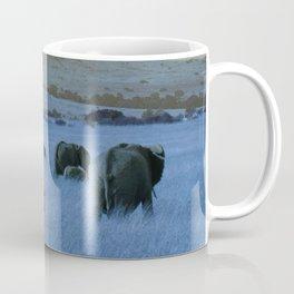 Elephant Herd in Blue Coffee Mug
