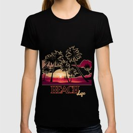 Beach Life Sea Sunset Coconut Trees  Shore Gift  T-shirt