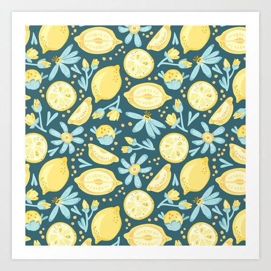Lemon Pattern Green Art Print