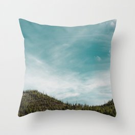 Teal Sky Forest Mountain Throw Pillow