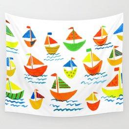 Crazy Sailboats Wall Tapestry