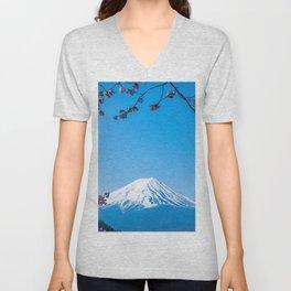 Mount Fuji in spring Unisex V-Neck