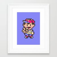 earthbound Framed Art Prints featuring Ness (Peace) - Earthbound / Mother 2 by Studio Momo╰༼ ಠ益ಠ ༽