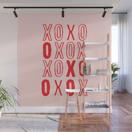 XOXO hugs and kisses in pink and red Wall Mural
