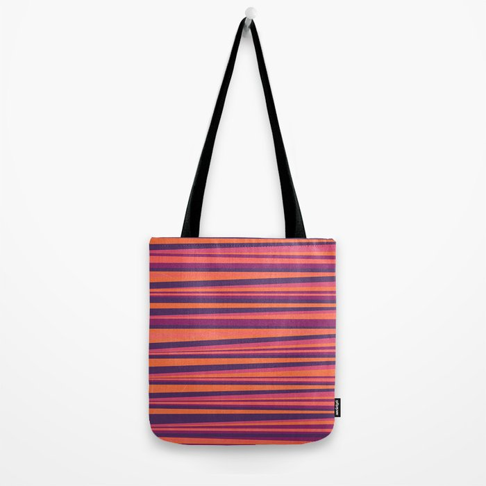Happy Horizontal Lines Pink Version Tote Bag