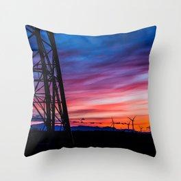 Sunset & Windmills Throw Pillow