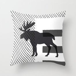 Moose Stamped Throw Pillow