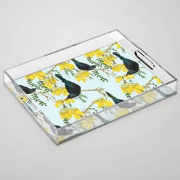 Tuis in the Kowhai Flowers Acrylic Tray