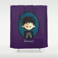 edward scissorhands Shower Curtains featuring Edward Scissorhands by Juliana Motzko