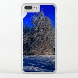 snow and moon Clear iPhone Case