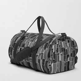 Tall city B&W inverted / Lineart city pattern Duffle Bag