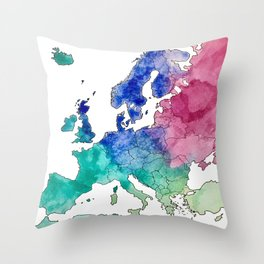 Colorful Watercolor Map of Europe Throw Pillow